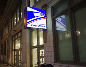 post office building at night