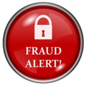 red fraud alert button