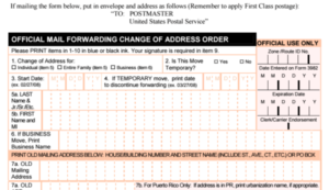 change of address usps form